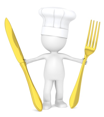 3D Little Human Character the Master Chef holding a Golden fork and a knife  photo