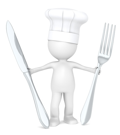 3D Little Human Character the Master Chef holding a fork and a knife . photo