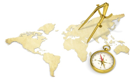 east africa: A World Map in 3D. Paper Shape, thin and Antique style.  Brass Divider and Compass.