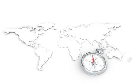 east: World Map in 3D   Steel Compass  Stock Photo