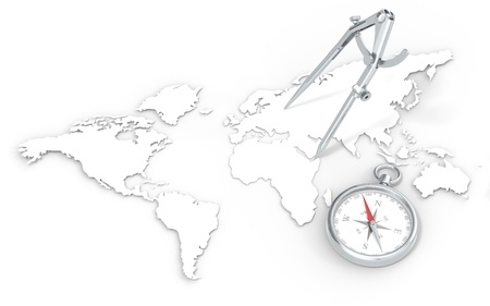 World Map in 3D   Steel Divider and Compass