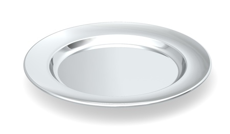 Served on silver platter  A silver plate on white background  Stock Photo - 13368219