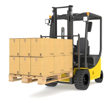 Forklift Truck with a Pallet and Boxes  Warehouse and logistics series  photo