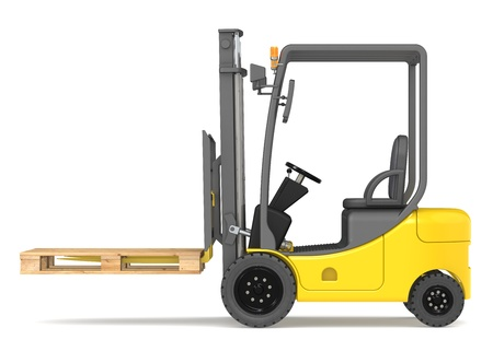 Side view of a Forklift Truck with an empty pallet. Warehouse and logistics series. photo