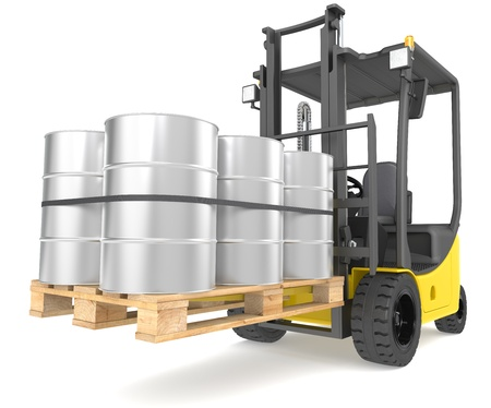 Perspective view of a Forklift Truck with a pallet and Steel Barrels  Warehouse and logistics series  photo