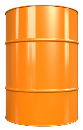 Classic Oil Drum. Orange, isolated on white. photo