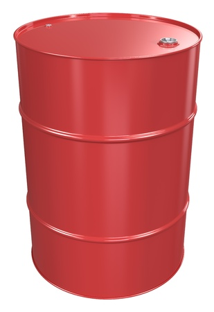 Red Oil Barrel, Metal Lid. Isolated. photo