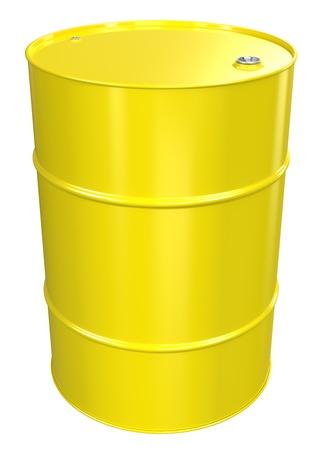 Gele olie Barrel, metalen deksel. Geïsoleerd.