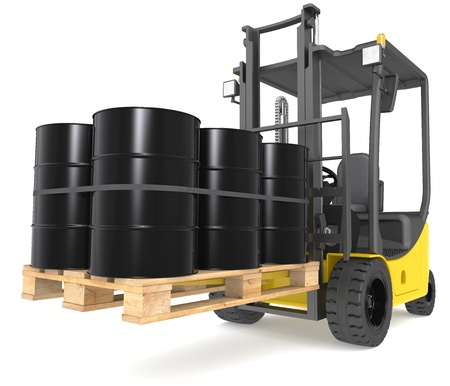 Perspective view of a Forklift Truck with a pallet of Oil Drums. Warehouse and logistics series. photo