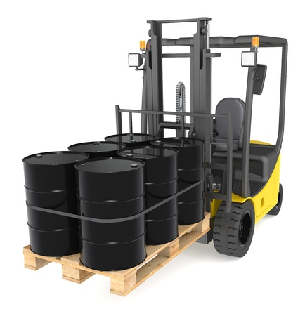 gas distribution: Forklift Truck with a pallet of Oil Drums. Warehouse and logistics series. Stock Photo