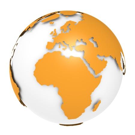 mapa de africa: La Tierra, Orange diseño de concha. Escasa y aislada. Foto de archivo