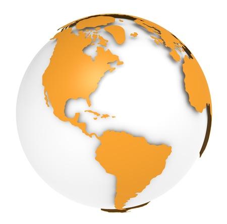 south america: La Tierra, Orange dise�o de concha. Escasa y aislada. Foto de archivo