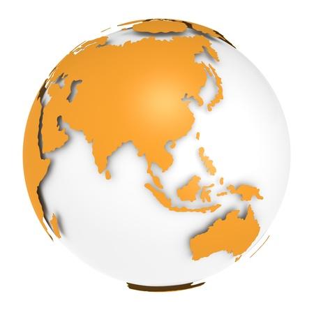 Die Erde, Orange Shell-Design. Spärliche und isoliert. Standard-Bild