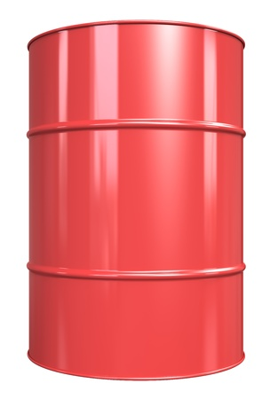 Classic Oil Drum. Red, isolated on white. photo