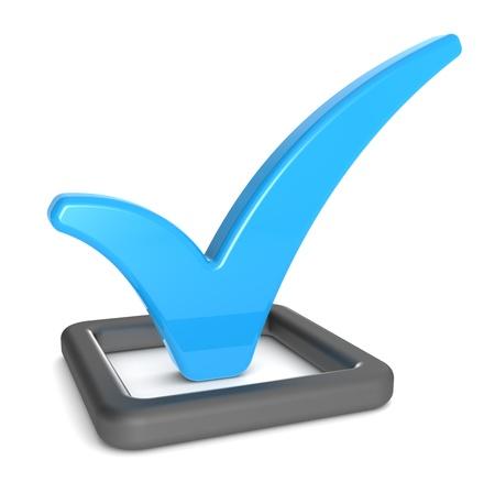 check in: Check Mark in Check Box. Matte black and blue, Business presentation series. Stock Photo