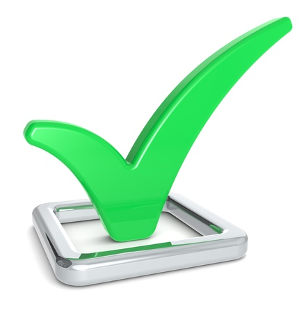 tickbox: Check Mark in Check Box. Green and metal.
