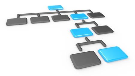 matte:  Organization Chart Classic Organization Chart  Matte black and blue, Business presentation series