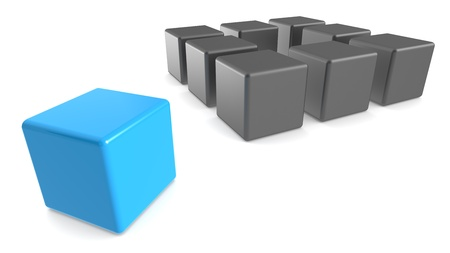 Classic Methaphore illustrated with Cubes. Matte black and blue, Business presentation series. photo