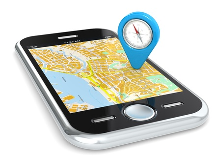 travel location: Black Smartphone. GPS map and an Abstract Pointer Icon with Compass. Stock Photo