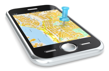 directions: Black Smartphone with a GPS map. Blue Pushpin.
