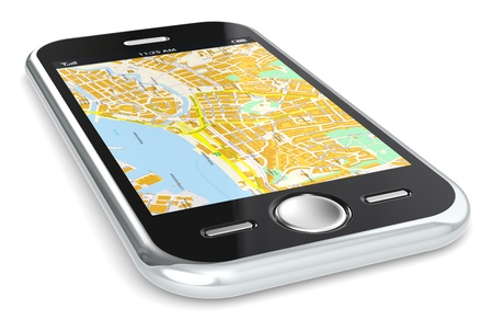 gps  map: Black Smartphone with a GPS map.  Stock Photo