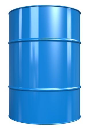 Classic Oil Drum. Blauw, geïsoleerd op wit. Stockfoto