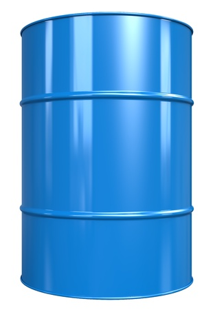 Classic Oil Drum. Blue, isolated on white.