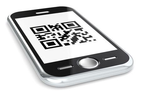 Black smartphone with a sample QR Code   photo