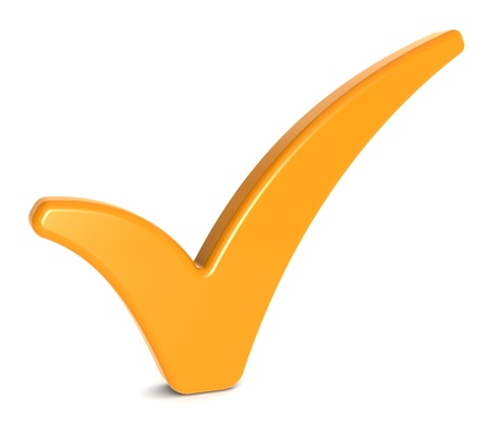 background check: Orange Check Mark on Whitee background  Stock Photo