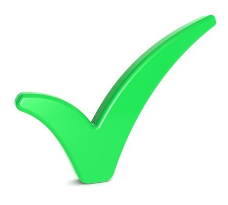 check icon: Marca de verificaci�n verde en el fondo blancoo Foto de archivo