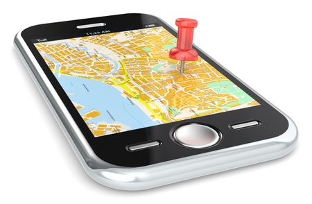 gps map: Black Smartphone with a GPS map  Red Pushpin