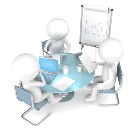flipchart: 3D little human characters X3 working together. Business People series. Stock Photo