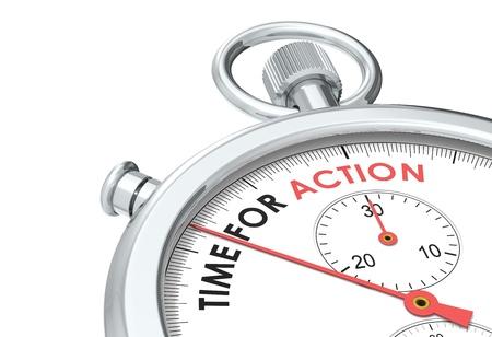 Zeit zum Handeln. Stoppuhr-Edition. Standard-Bild