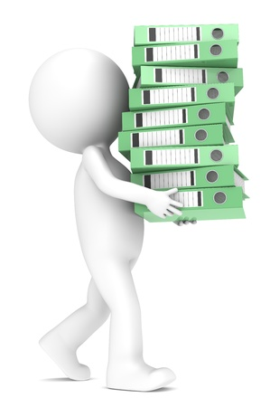 3D little human character carrying a large green pile of Ring Binders. People series. photo