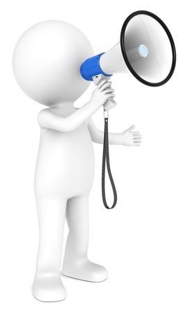 Zeichen: 3d kleine menschliche Figur mit einer wei�en und blauen Megaphone Menschen Serie Lizenzfreie Bilder