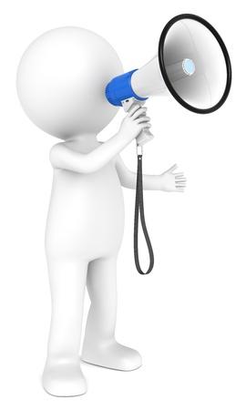 personnage: 3d petit personnage humain avec un m�gaphone gens s�rie blanc et bleu Banque d'images