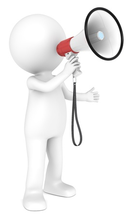attention icon: 3d little human character with a white and Red Megaphone   People series