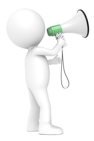 gente comunicandose: 3d peque�o personaje humano con un meg�fono y una serie verde blanco Vista lateral personas Foto de archivo