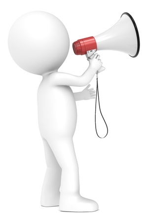 reproach: 3d little human character with a Megaphone  Red and white  Side view   People series  Stock Photo