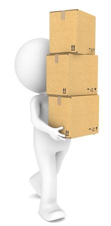 petit homme: 3D petit personnage humain portant une pile de bo�tes de gens s�rie Carton