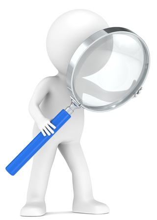 3D little human character with a Magnifying Glass. Blue. Low Refraction effect. People series