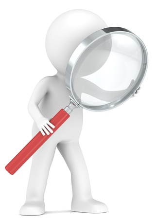 3D little human character with a Magnifying Glass. Red. Low Refraction effect. People series. Stock Photo - 13972590