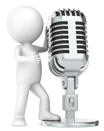 Zeichen: 3D wenig menschlichen Charakter The Star, mit einem Retro-Mikrofon. Metal. Menschen Serie. Lizenzfreie Bilder