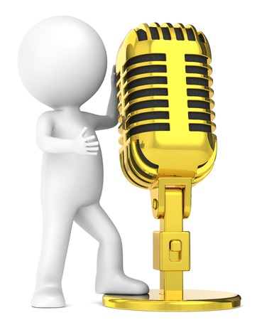 3D little human character The Star, with a Golden Retro Microphone. . People series. Stock Photo