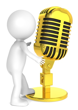 music figure: 3D little human character with a Retro Microphone of gold. Metal. People series. Stock Photo
