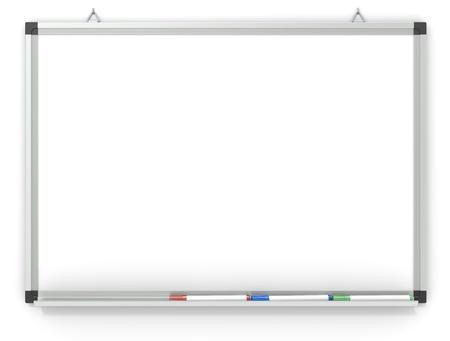 marker pen: Blank Whiteboard mounted on wall.  3x marker pens. Copy space.