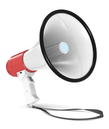 hablar en publico: Meg�fono Rojo y blanco con correa. Piso sombra. Foto de archivo