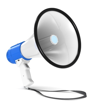Blue and white Megaphone with Strap. Floor Shadow. photo