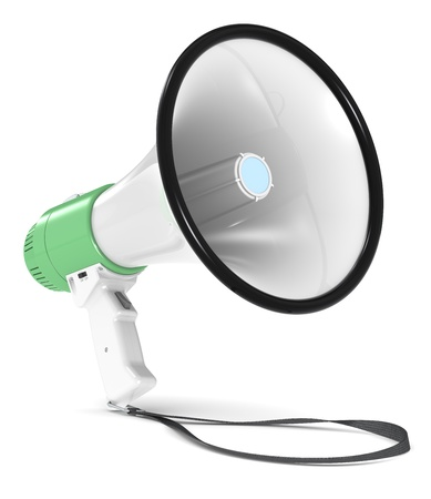 Green and white Megaphone with Strap. Floor Shadow. photo