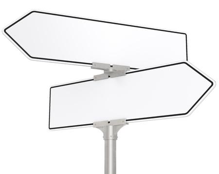 Witte Verkeersborden Blank directional verkeersborden Wit voor Geïsoleerd Kopie Ruimte